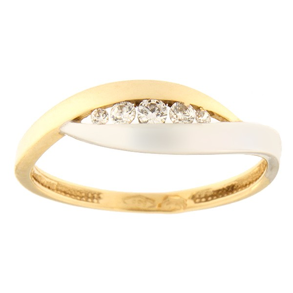 Gold ring with zircons Code: 100pt