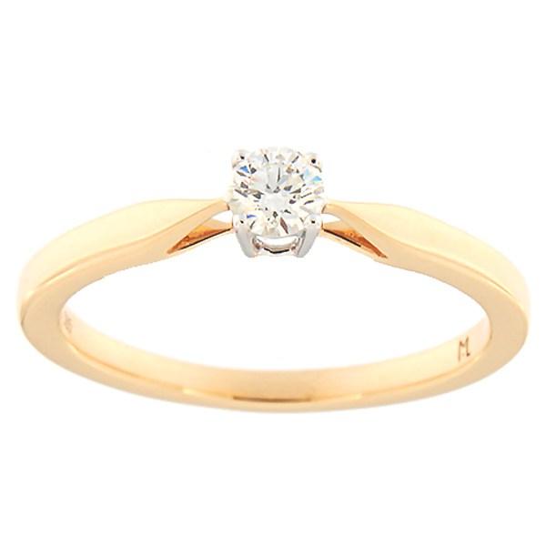 Kullast sõrmus teemantiga 0,18 ct. Kood: 102ak