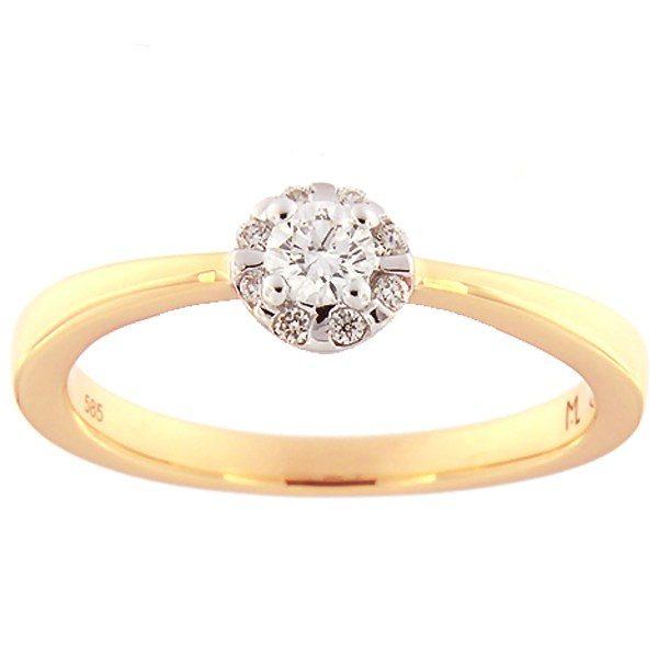 Kullast sõrmus teemantidega 0,19 ct. Kood: 112ak