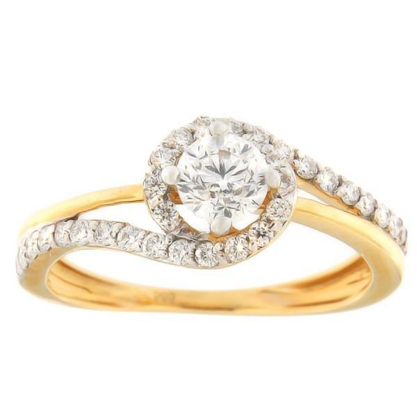 Kullast sõrmus teemantidega 0,72 ct. Kood: 115an