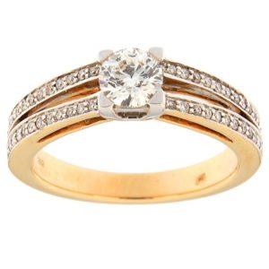Kullast sõrmus teemantidega 0,70 ct. Kood: 116ac