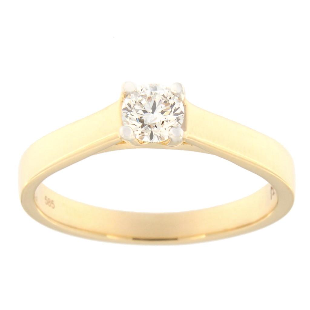 Kullast sõrmus teemantiga 0,30 ct. Kood: 117ak
