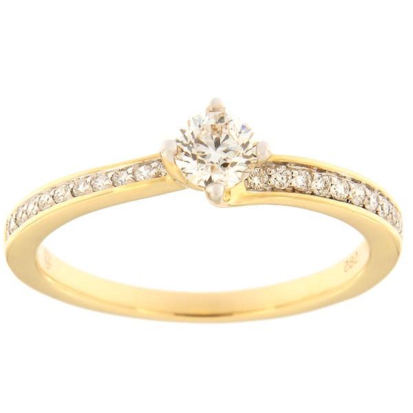 Kullast sõrmus teemantidega 0,35 ct. Kood: 121af