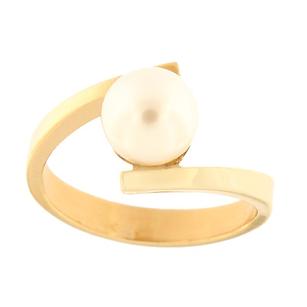 Gold ring with freshwater pearl Code: 121pt