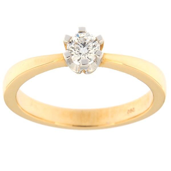 Kullast sõrmus teemantiga 0,30 ct. Kood: 123an