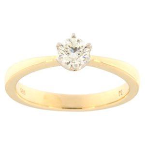 Kullast sõrmus teemantiga 0,40 ct. Kood: 128ak
