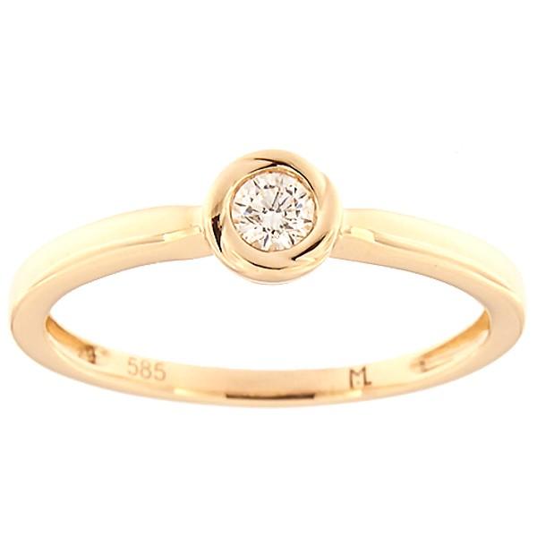 Kullast sõrmus teemantiga 0,10 ct. Kood: 132ak