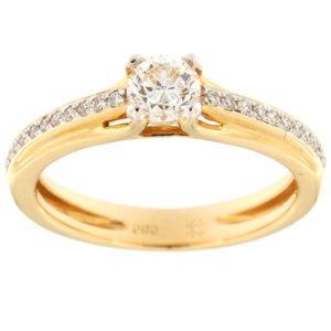 Kullast sõrmus teemantidega 0,47 ct. Kood: 134af
