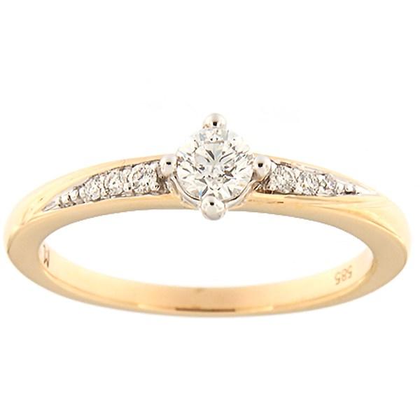 Kullast sõrmus teemantidega 0,30 ct. Kood: 135ak