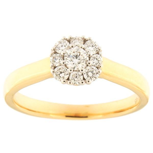 Kullast sõrmus teemantidega 0,36 ct. Kood: 139af