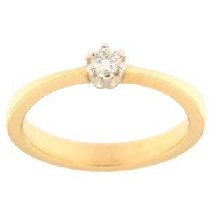 Kullast sõrmus teemantiga 0,09 ct. Kood: 141ax