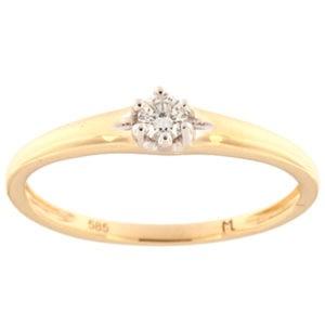 Kullast sõrmus teemantiga 0,10 ct. Kood: 153ak