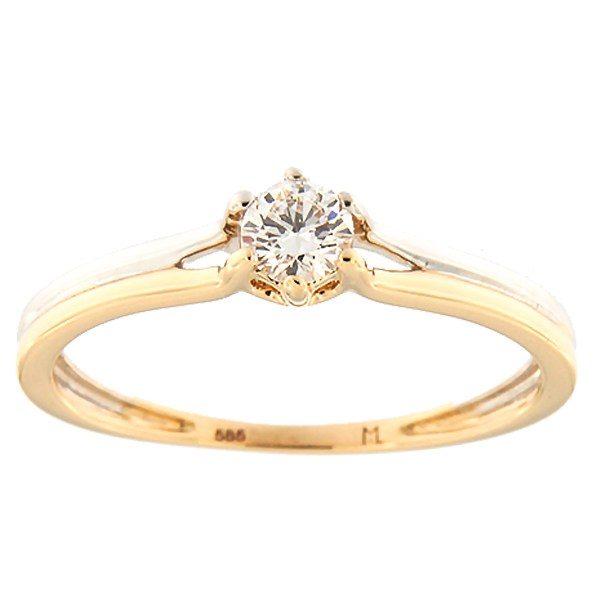 Kullast sõrmus teemantiga 0,18 ct. Kood: 158ak