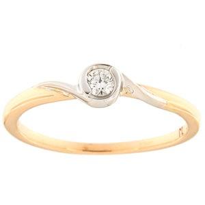 Kullast sõrmus teemantiga 0,10 ct. Kood: 177ak