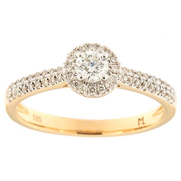Kullast sõrmus teemantidega 0,40 ct. Kood: 179ak
