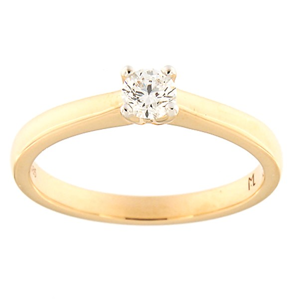 Kullast sõrmus teemantiga 0,24 ct. Kood: 188ak