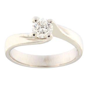 Kullast sõrmus teemantiga 0,46 ct. Kood: 1b