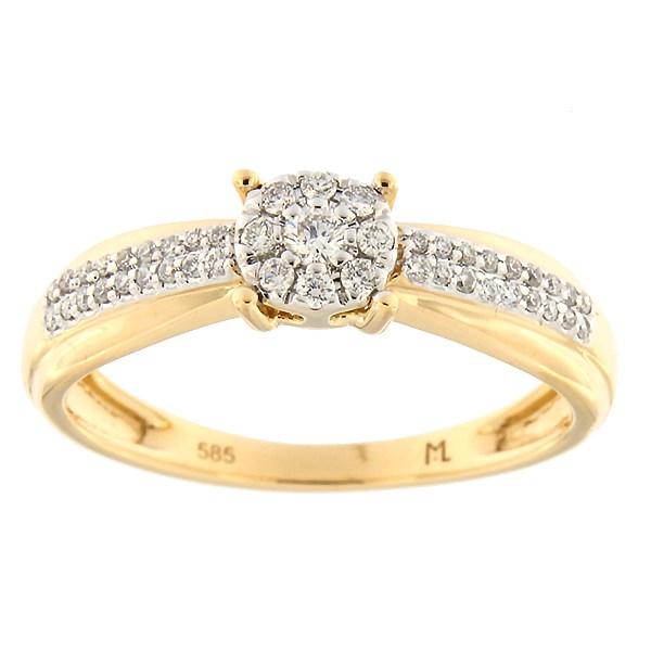 Kullast sõrmus teemantidega 0,20 ct. Kood: 202ak
