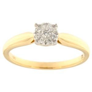 Kullast sõrmus teemantidega 0,09 ct. Kood: 207ak