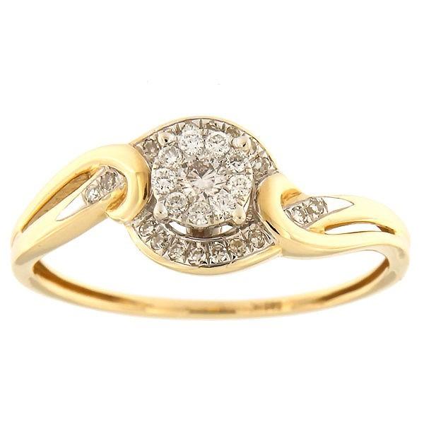 Kullast sõrmus teemantidega 0,15 ct. Kood: 34ha-rf8266