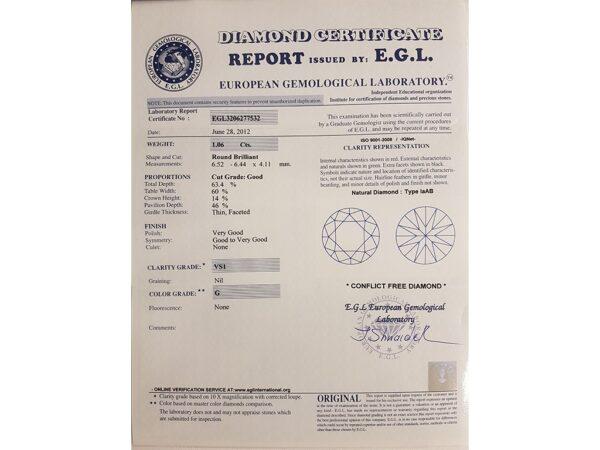 Kullast sõrmus teemantidega 1,84 ct. Kood: 378ad sertifikaat