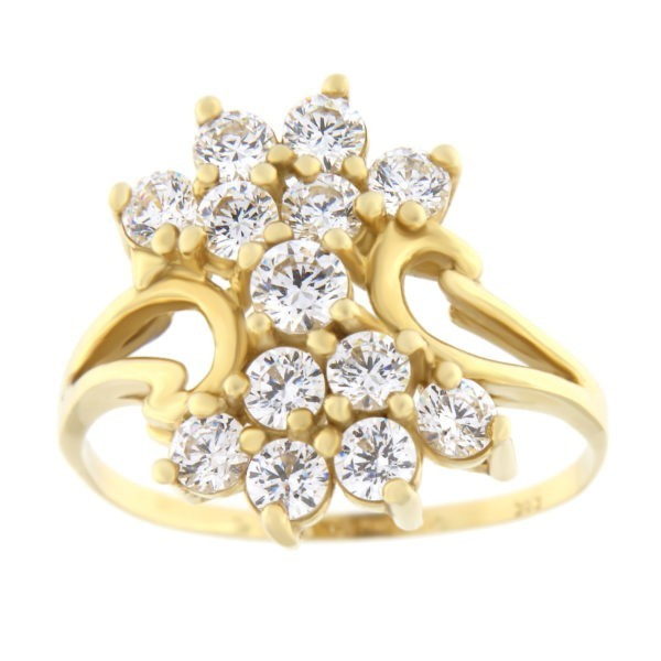 Kullast sõrmus tsirkoonidega Kood: 461wp065, 460wp065