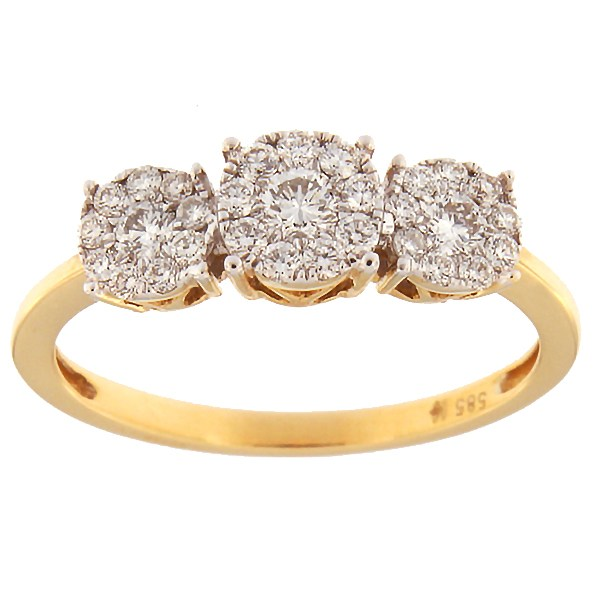 Kullast sõrmus teemantidega 0,41 ct. Kood: 4hk