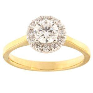 Kullast sõrmus teemantidega 0,75 ct. Kood: 52ha-rb6340eg