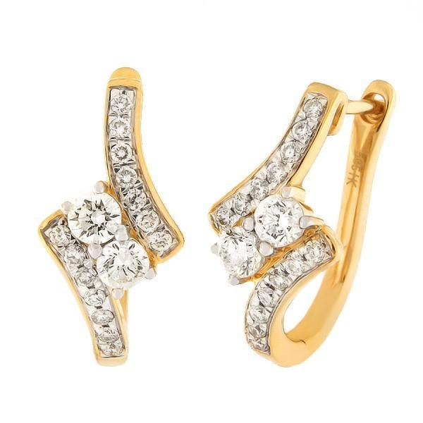 Kullast kõrvarõngad teemantidega 1,20 ct. Kood: 56HB