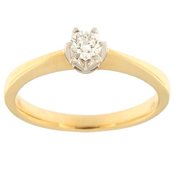 Kullast sõrmus teemantiga 0,18 ct. Kood: 59af