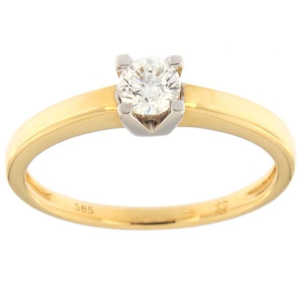 Kullast sõrmus teemantiga 0,23 ct. Kood: 65af