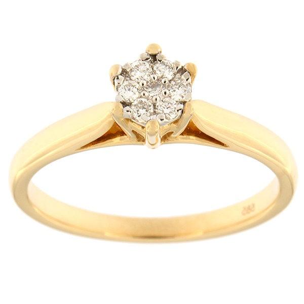 Kullast sõrmus teemanditega 0,10 ct. Kood: 67an