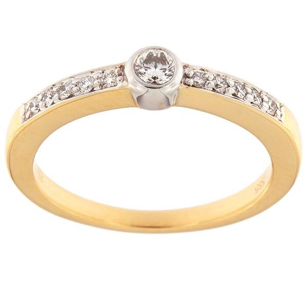 Kullast sõrmus teemantidega 0,18 ct. Kood: 68af