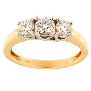 Kullast sõrmus teemantidega 1,00 ct. Kood: 69ae