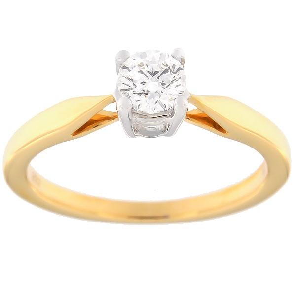 Kullast sõrmus teemantiga 0,38 ct. Kood: 70af