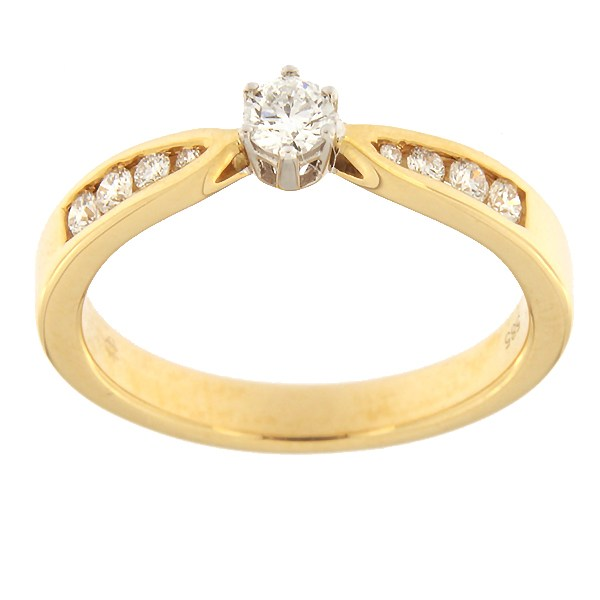 Kullast sõrmus teemantidega 0,25 ct. Kood: 77af