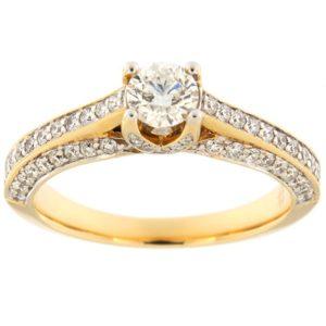 Kullast sõrmus teemantidega 0,85 ct. Kood: 77ax