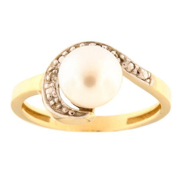Kullast sõrmus mageveepärli ja tsirkoonidega Kood: 793wp1021