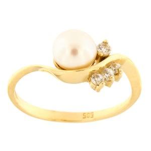 Kullast sõrmus mageveepärli ja tsirkoonidega Kood: 802wp292