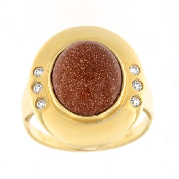 Kullast sõrmus päikesekivi ja tsirkoonidega Kood: 809wp224, 808wp224