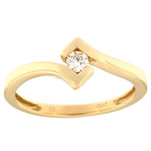 Kullast sõrmus teemantiga 0,10 ct. Kood: 83af