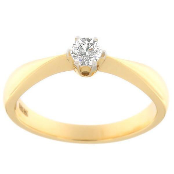 Kullast sõrmus teemantiga 0,20 ct. Kood: 84hb
