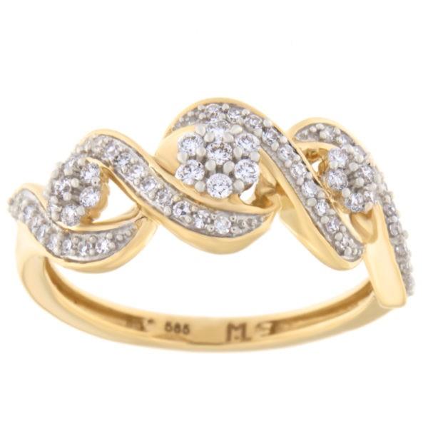 Kullast sõrmus teemantidega 0,25 ct. Kood: 26hc,87he