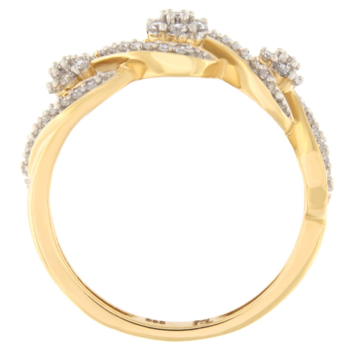 Kullast sõrmus teemantidega 0,25 ct. Kood: 87he