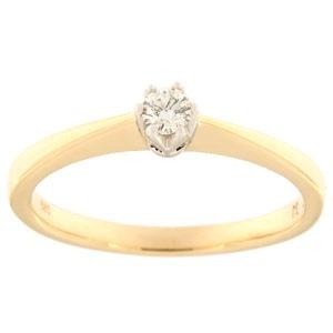 Kullast sõrmus teemantiga 0,10 ct. Kood: 90ak