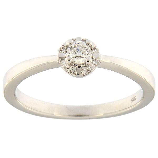 Kullast sõrmus teemantidega 0,21 ct. Kood: 91an