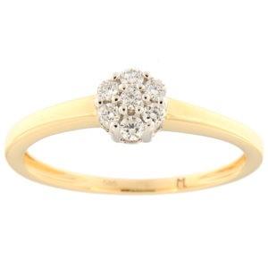 Kullast sõrmus teemantiga 0,15 ct. Kood: 92ak