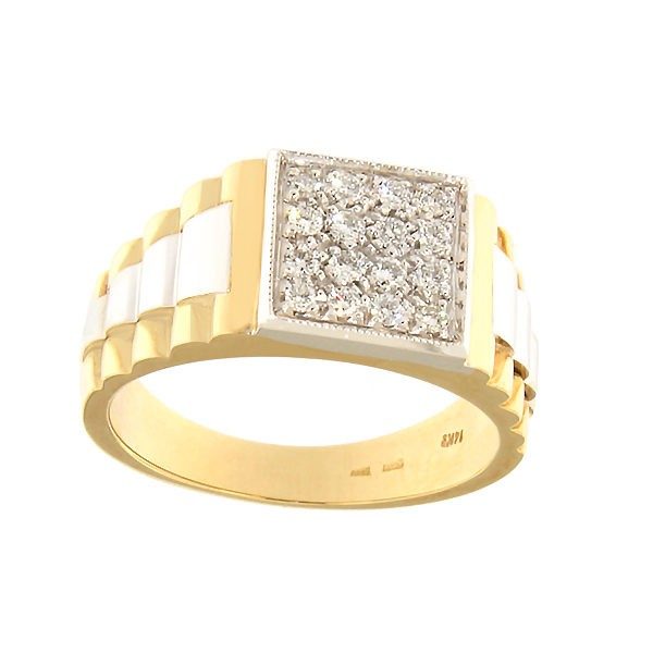 Gold men's ring with diamonds Code: 947b