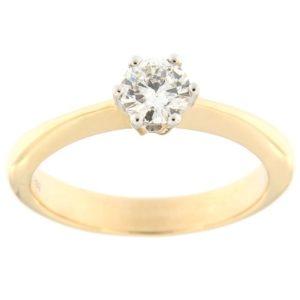 Kullast sõrmus teemantiga 0,38 ct. Kood: 96af