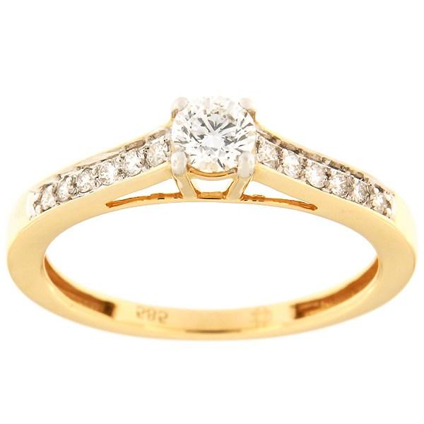 Kullast sõrmus teemantidega 0,36 ct. Kood: 99af
